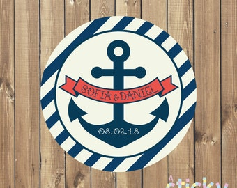 Personalized Wedding Stickers, Wedding Labels, Wedding Tags, Wedding Favor Stickers, Nautical Wedding Stickers, Custom Wedding Stickers