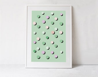 Mint Green Wall Art-Instant Download-Large Wall Art Printable Poster-Mint Green Print-Dot Print Wall Art-Mint Green Decor-Downloadable Art