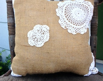 Large Burlap and Lace Doily Pillow