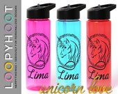 Personalized 24 oz Flip top Water Bottle--UNICORN LOVE