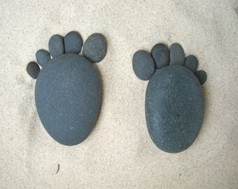 Garden.  Lake Superior Rock Footies!   :)   Stones, rocks, rock art, home decor, unique gifts.  One pair.