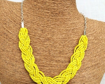 Braided yellow necklace, yellow bib necklace, yellow statement, statement necklace, yellow bridesmaids, yellow necklace, yellow braided bib