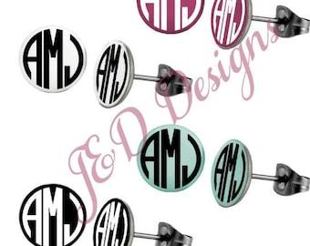 Personalized Round Enamel Post Style Earrings