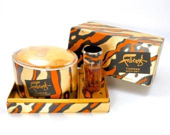 Vintage 70s Faberge Tigress Bath Set, Cologne & Powder