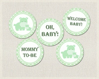 Hippopotamus Cupcake Toppers | Green Hippo Baby Shower Printable Cupcake Toppers Decorations Gender Neutral BS-163