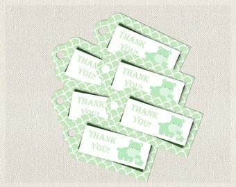 Printable Hippopotamus Favor Thank You Tags Green Hippo |  Favors Tags  Baby Shower Gender Neutral BS-163