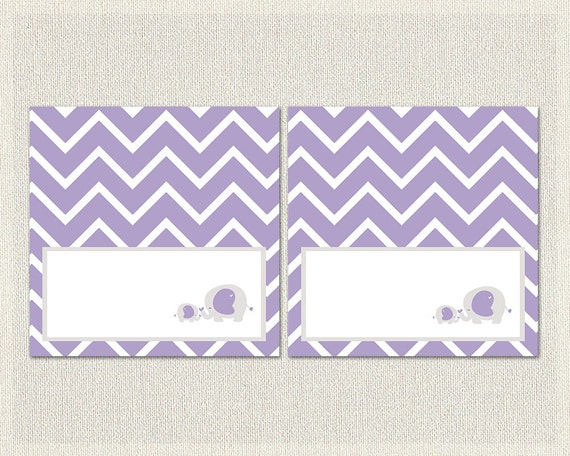 purple gray elephant theme baby shower food tent cards girls baby
