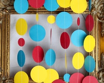 Superhero party, superhero garland, red yellow and blue garland, party backdrop, table garland, shower decor, Curious George, circus party