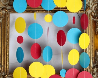 Superhero party, superhero garland, Curious George, red yellow and blue garland, party backdrop, table garland, shower decor, circus party