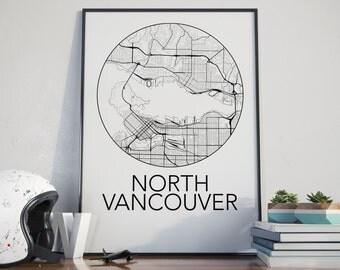 North Vancouver, BC Minimalist City Map Print