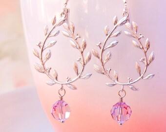 Laurel Wreath Earrings Silver Chandelier Wedding Earrings Light Amethyst Earrings Bridal Jewelry Swarovski Purple Crystal Earrings