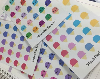 Ice Cream Planner Stickers with Kawaii Faces- Perfect for Erin Condren, Plum Planner, KikkiK, and Inkwell planners !
