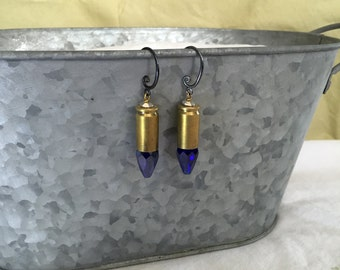 Cobalt Crystal 9mm Earrings