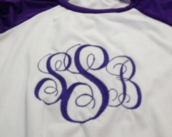 embroidary monogrammed raglans