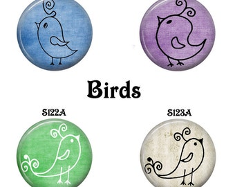 Interchangeable Magnetic Inserts, Interchangeable Jewelry, Fits 23mm Pendant Trays, Magnetic Pendant Inserts, Bracelet Inserts, Cute Birds