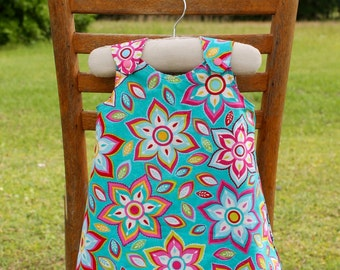 Reversible Infant/Toddler/Girls Jumper Dress- Wildflowers and Pinwheels, CPSC compliant