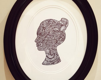 Custom handmade zentangle silhouette
