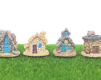 4 Miniature Stone Houses, Terrarium Tribal Village Hut, for Elf Genome Fairy Garden, Mini Moss Building Decor Supplies