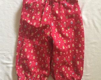 "Handmade Baby Girl Pants in ""Babushka"" Print 100% Cotton Size 12 Months"