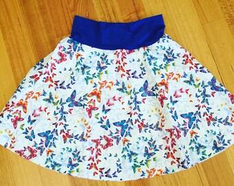 Handmade Size 5  Guilded Butterfly Fold Down Waist Skater Skirt