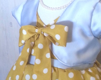 Yellow polkadot girls special event dress, with jacket 2T, 3T, 4T
