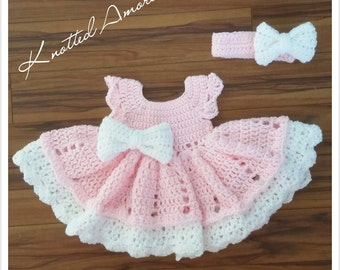 Crochet baby dress set, crochet headband, crochet dress, baby dress, photo prop, baby booties, baby gift, baby outfit, coming home oufit