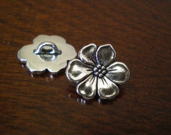 "3 - TierraCast Apple Blossom Metal Buttons with Shank 5/8"" (16mm)"