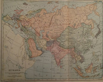 Antique 1898 Political Map of Eurasia Including China, India and Russia by Bradley & Foates