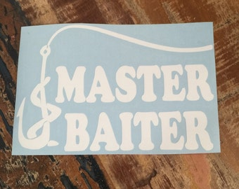 Master Baiter Decal ~ Fishing Hook & Worm Window Sticker ~ Tackle Box/Truck/Car/Coolers/Yeti