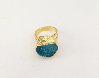 Gold Plated Ring with Turquoise Natural Stone