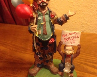 """Vintage Emmitt Kelly """"Balloons For Sale"""" Collector's Edition Clown Figurine #2756"""