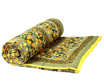 Indian Hand Block Printed Green Color King Size Quilt Floral Design Size 90x108