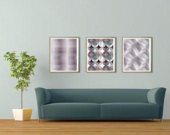 Modern geometric art decor Art set of 3 Contemporary art decor Modern geometric wall art print Set of 3 prints