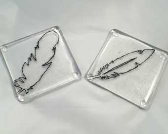 fused glass coasters, feather keepsake, feather coasters,