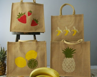 Set of 4 Fruit Jute reusable shopping tote-  Large. Hand painted carrier bag. Burlap, hessian banana, pineapple, lemon lime, strawberry bag