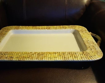 Italian Ceramic Bamboo Motif Serving Tray
