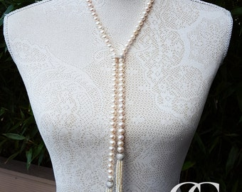 """Vintage Inspired Freshwater Pearl Scarf Necklace with Tassels 38"""""""