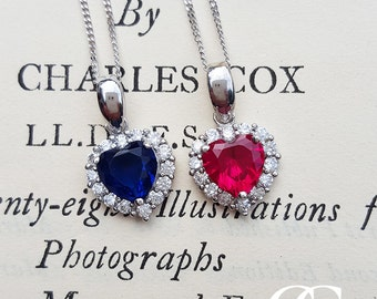 Fine 9ct White Gold 'Heart of the Ocean' Necklace in Blue or Red