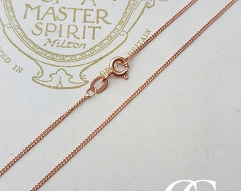 9ct Rose Gold 1mm Adjustable Curb Chain Necklace 18″-20″