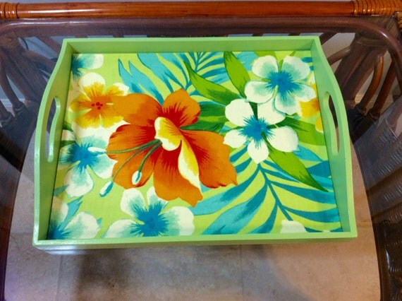 Tropical Fruit Platter For A Beach Wedding: Decorative Wood Serving Tray-Beach Serving Tray-Tropical