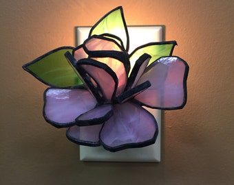 3-D Floral Stained Glass Night Light