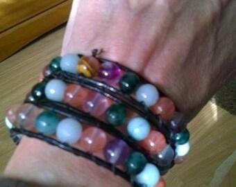 Triple wraparound gemstone bracelet