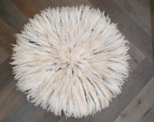Juju Hat Large 70cm 27 inches White Traditional Authentic Bamileke Tribe 008