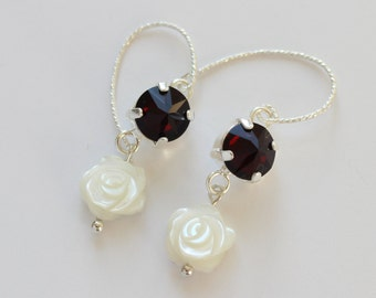 Swarovski garnet crystal and mother of pearl earrings