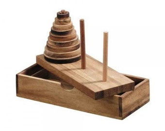 Tower of Hanoi Wooden Puzzle Game (9 Rings)