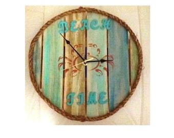 Beach Time Wood Clock