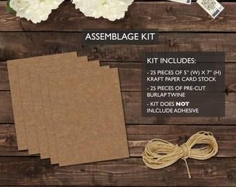 Rustic Wedding Invitation Assemblage Kit - Burlap, Kraft Paper, Rustic, Barn, Farm, Simple, Elegant Style, Set of 25