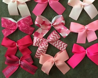 Pink bows/create your own set/pinks/pink patterns/Breast Cancer Awareness/headband/hair clip/hair tie/handmade/customize