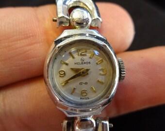 Vintage Helbros Swiss ladies winding wrist watch 10k rgp bezel Major women's wind up running works