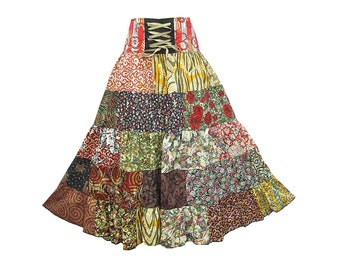 Boho Hippie Cotton Patchwork 5-Tier Broomstick Skirt  (M0757)
